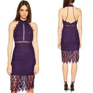 Bardot Purple Lace Open Back Sheath Dress 8M Party